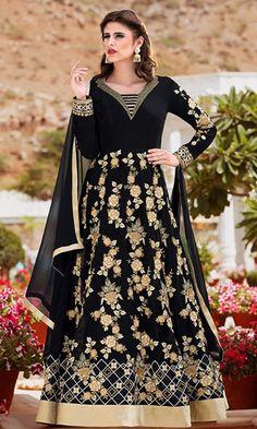 1f52a056e1 Buy online Black Wedding Wear Anarkali Suit (SKU Code