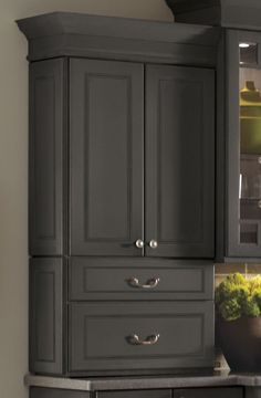 A two drawer cabinet provides an easy storage option, perfect for larger items accessible at counter height.