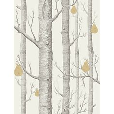 Buy Cole  Son Woods And Pears Wallpaper Online at johnlewis.com charcoal gold linen