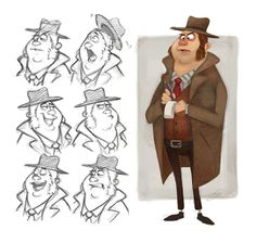 Character design - The Detective by Character Design Animation, Character Design References, Character Drawing, Comic Character, Character Illustration, Graphic Design Illustration, Character Concept, Denis Zilber, Poses