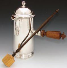 "Antique French Sterling Silver 9.5"" Chocolate Pot w Original Stir Stick, Silversmith, PARIS"