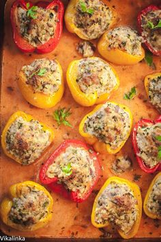 Light and healthy comfort food dinner. These peppers are stuffed with extra-lean pork, shredded zucchini and gluten-free millet grain baked in a creamy tomato sauce. A family favourite!