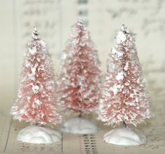 ♕ pretty pink  bottle brush trees