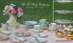 mismatched, mismatched, mismatched!!!!! matching and mismatching teacups & saucers matching and mismatching teapot sets food stands centerpieces All for rent @ The Tea Party Company