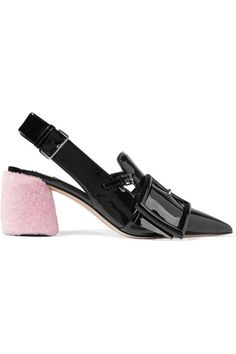 Miu Miu's pumps are set on a fluffy pastel-pink shearling heel - a playful accent, true to the brand's aesthetic. Crafted in Italy from black patent-leather, this slingback pair is finished with an oversized buckle at the pointed toe. We think the height is ideal for all-day wear.