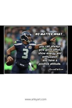 Ready to frame quote poster. Russell Wilson motivational quote. Positive Attitude, Attitude Quotes, Football Motivation, Football Wall, Motivational Quotes, Inspirational Quotes, Framed Quotes, Russell Wilson, Quote Posters