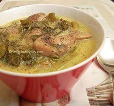 Vegeterian Magiritsa soup with mushrooms