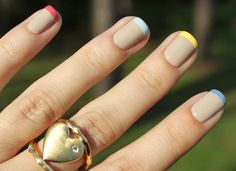 Modern multicolor french tips with pastel colors!