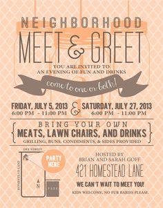 Neighborhood meet and greet invite