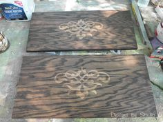 This is really cool, use glue with a stencil, stain wood, you're left with a two tone beauty. Unfortunately you're left with the glue on the wood. Would be really awesome to be able to peel up the glue to reveal the actual wood. I guess hot glue might work instead. Might try it on a scrap of wood first.
