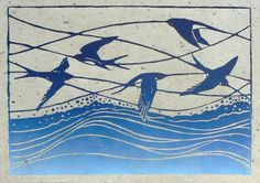 Swallows linocut print by StripedPebble on Etsy
