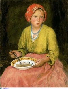 "Oszkar Glatz  ""The girl in red kerchief"""