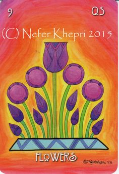 The Flowers card from The #EgyptianLenormand, copyright Nefer Khepri 2012, 2015 & Schiffer Books 2015.