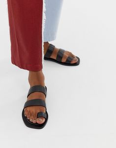 Find the best selection of ASOS DESIGN Fiji premium toe loop leather mules. Shop today with free delivery and returns (Ts&Cs apply) with ASOS! Leopard Espadrilles, Leather Espadrilles, Leather Mules, Smooth Leather, Real Leather, Safari, Shoes Flats Sandals, Strappy Sandals, Leather