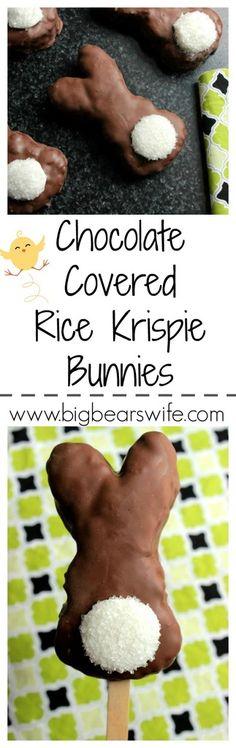 Chocolate Covered Rice Krispie Bunnies