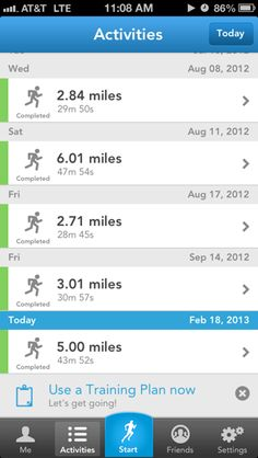 Runkeeper iPhone lists screenshot  Tabs at the bottom with focus on the current tab