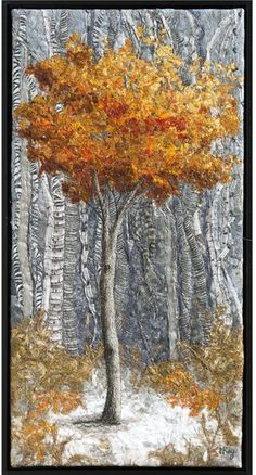 Small Clearing by Lorraine Roy textile art, Textile Fiber Art, Textile Artists, Fiber Art Quilts, Thread Art, Thread Painting, Landscape Art Quilts, Tree Quilt, Contemporary Quilts, Quilted Wall Hangings