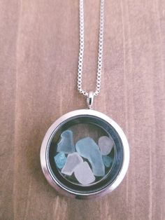 Floating Locket with Pastel Lake Superior Sea by WildBlueCreations