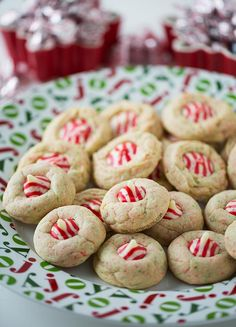Sugar Cookie Candy Cane Blossoms: anything peppermint is going to be a favorite with this girl. If only you didn't have to wait until the season for those holiday kisses...