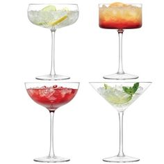 Save 33% - Now £29.99  The LSA Lulu Assorted Cocktail Glasses (Set of 4) are handmade, stunning glasses and will certainly look the part. Every glass in the set is unique.