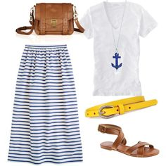 Fun nautical outfit with a pop of yellow. Created by mckinley3 on Polyvore.