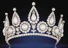 British: the Rosebery Pearl & Diamond Tiara - c. 1878, created for Hannah de Rothschild, Countess of Rosebery. When her father died in 1874, she became the wealthiest woman in England. The Tiara a part of a parure was acquired at the time of her marriage to Archibald, 5th Earl of Rosebery on 20th March 1878. In 1909 the tiara was passed to their eldest son as a gift to the bride. This tiara is convertible into a necklace. It was recently sold by Christie's in June 2011 to a private…