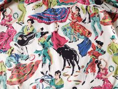 Vintage pinny 1960s half apron with kitsch Spanish by GoodsGarb