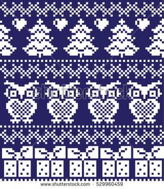 New Year's Christmas pattern pixel, card - scandynavian Norwegian sweater style