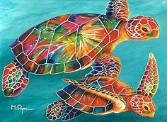 sea turtle art | Sea Gliders - sea turtles by Maria Ryan