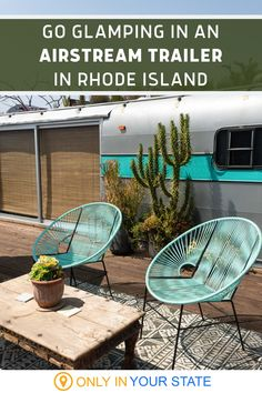 If you're looking for a unique summer getaway, consider a glamping adventure at this retro airstream campground in Rhode Island. Each charming metal trailer offers all the amenities you need for a great weekend getaway. You'll get a kitchenette, private fire pit, and more, plus, you're just minutes from beautiful Newport. Go Glamping, Airstream Trailers, Outdoor Furniture Sets, Outdoor Decor, Kitchenette, Summer Travel, Rhode Island, Weekend Getaways, Newport