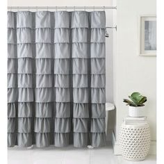 Elegant Bungalow Rose Petit Couli Ruffle Shower Curtain Color: Gray