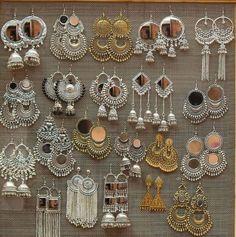 Silver oxidised Indian earrings - Famous Last Words Indian Jewelry Earrings, Indian Jewelry Sets, Silver Jewellery Indian, Jewelry Design Earrings, Bridal Jewelry Sets, Wedding Jewelry, Silver Earrings, Silver Ring, Silver Bracelets