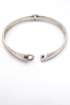 Hans Hansen Denmark Danish Modern mid century sterling silver hinged bracelet
