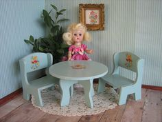 RARE  Vintage Madame Alexander Table and Chairs  GREY by TheToyBox