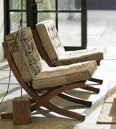 I love the recycled coffee bag upholstery on these Barcelona chairs. It makes me want to furnish an entire room around them.