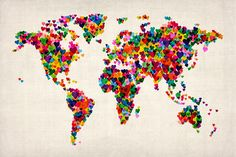 Trademark Art Love & Hearts World Map Canvas Art by Michael Tompsett, Size: 30 x Multicolor World Map Cat, Canvas Wall Art, Canvas Prints, Framed Prints, Heart Map, World Map Canvas, We Are The World, Mondrian, Butterfly Wall