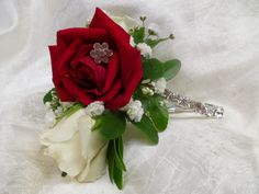 Wrist Corsage - White Majolika & Red Spray Roses, Gyp, Flower Gem accents, Single Row Cubic Zirconia Bracelet Corsage And Boutonniere, Boutonnieres, Wrist Corsage, Spray Roses, Graduation, Gems, Bracelet, Flowers, Wedding