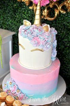 torta del unicornio de una fiesta de cumpleaños del unicornio vibrante en ideas de la fiesta de Kara |  KarasPartyIdeas.com (9)