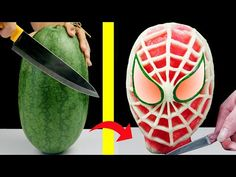 Spiderman, Fruit Creations, Watermelon Carving, Fruit Arrangements, Best Fruits, 5 Minute Crafts, Hello Everyone, How To Make Cake, Food Art
