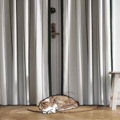 Lange gardiner ved dørene  mindsker gennemtrækket, så der ikke så let bliver fodkoldt. Kan købes nu i IKEA.