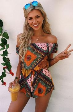 summer fashion off the shoulder boho playsuit