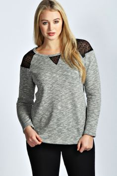 Grace Sweat With Lace Inserts at boohoo.com