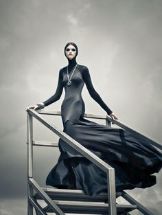Fashion Direction: Ashburn Eng, Photography: Zhang JingNa, Makeup: Larry Yeo, Hair: Ivy Tan for Phase Hairdressing Model: Kim M (Ave. Management) #fashion #editorial #black #dress #wind