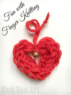 We LOVE finger knitting and are always on the look out for new Finger Knitting Projects and ideas. Here is a simple Finger Knitted Heart Ornament that the kids can make quickly and easily!!! Love. Nothing like a DIY Christmas Ornament or use these as adorable Valentine's Day Decorations too!