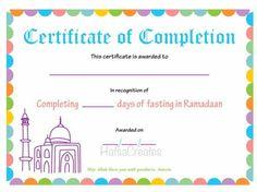 Ramadan completion certificate