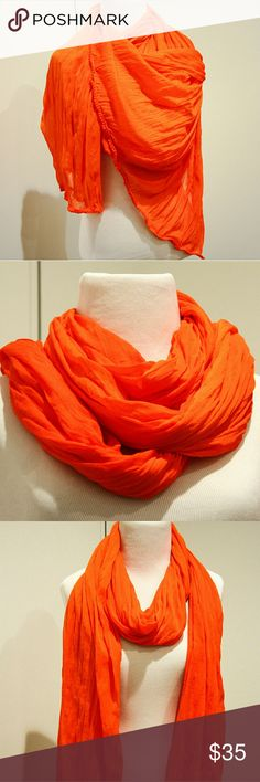 Orange Crepe Scarf Vibrant Orange Scarf NWOT Crepe fabric Large enough to be an ample, sumptuous wrap.  Fabric compresses easily into a comfortable neck scarf. Unbranded Accessories Scarves & Wraps