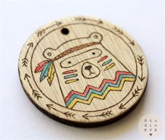 Tribal Bear Watercolour Pyrography Wearable Art Pendant Necklace Woodland Animal
