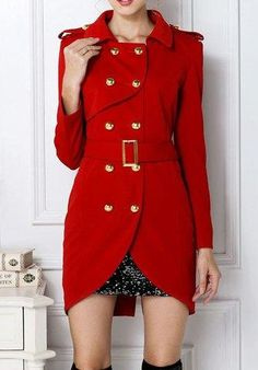 RoseGal.com - RoseGal Turn Down Collar Belted Double Breasted Design Long Sleeves Slimming Trench Coat - AdoreWe.com