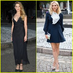 Amber Heard & Elizabeth Olsen Attend Miu Miu Launch in Paris
