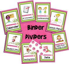 Binder dividers:The Resource(ful) Room!